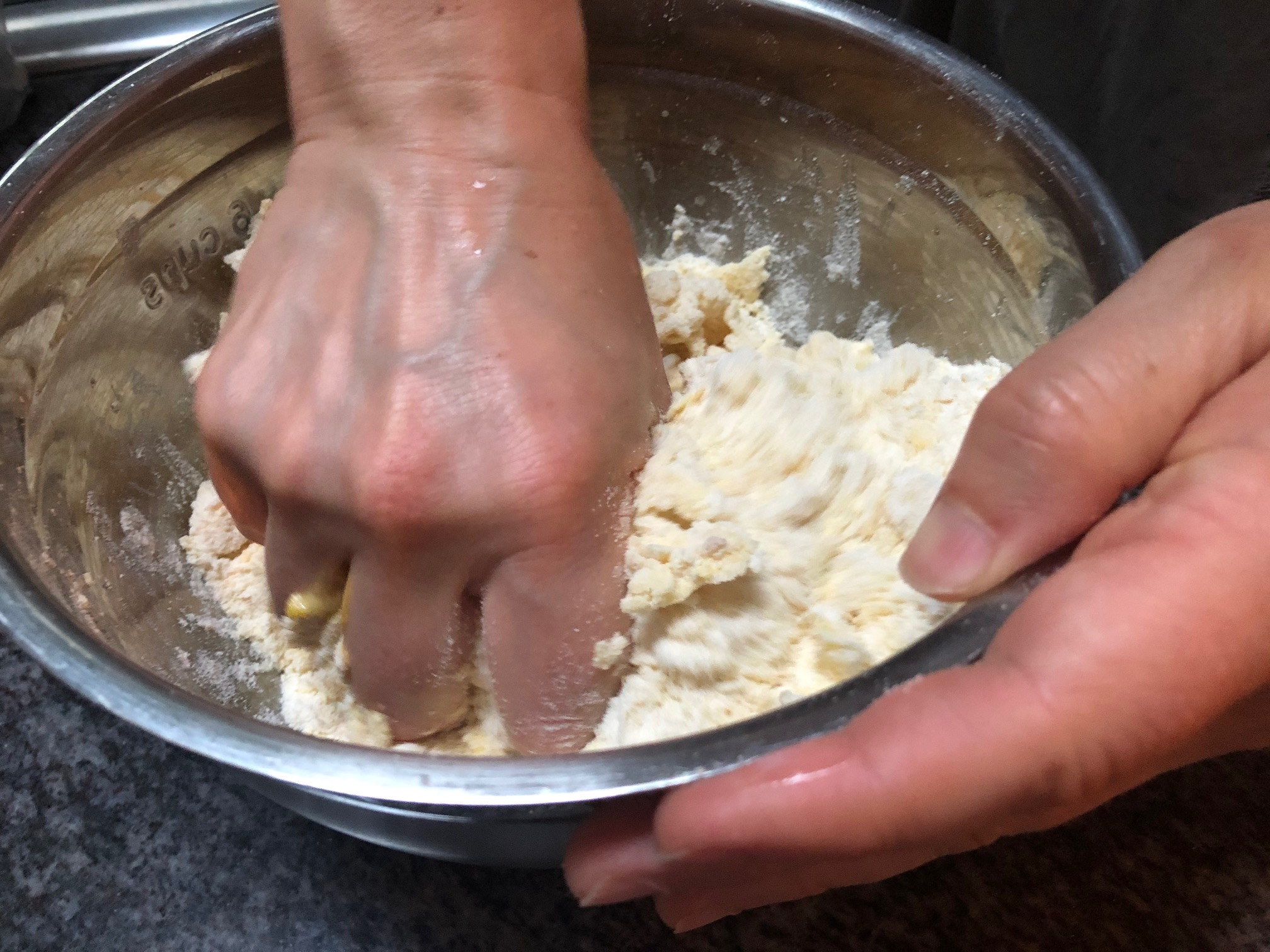 mix the dough by hand