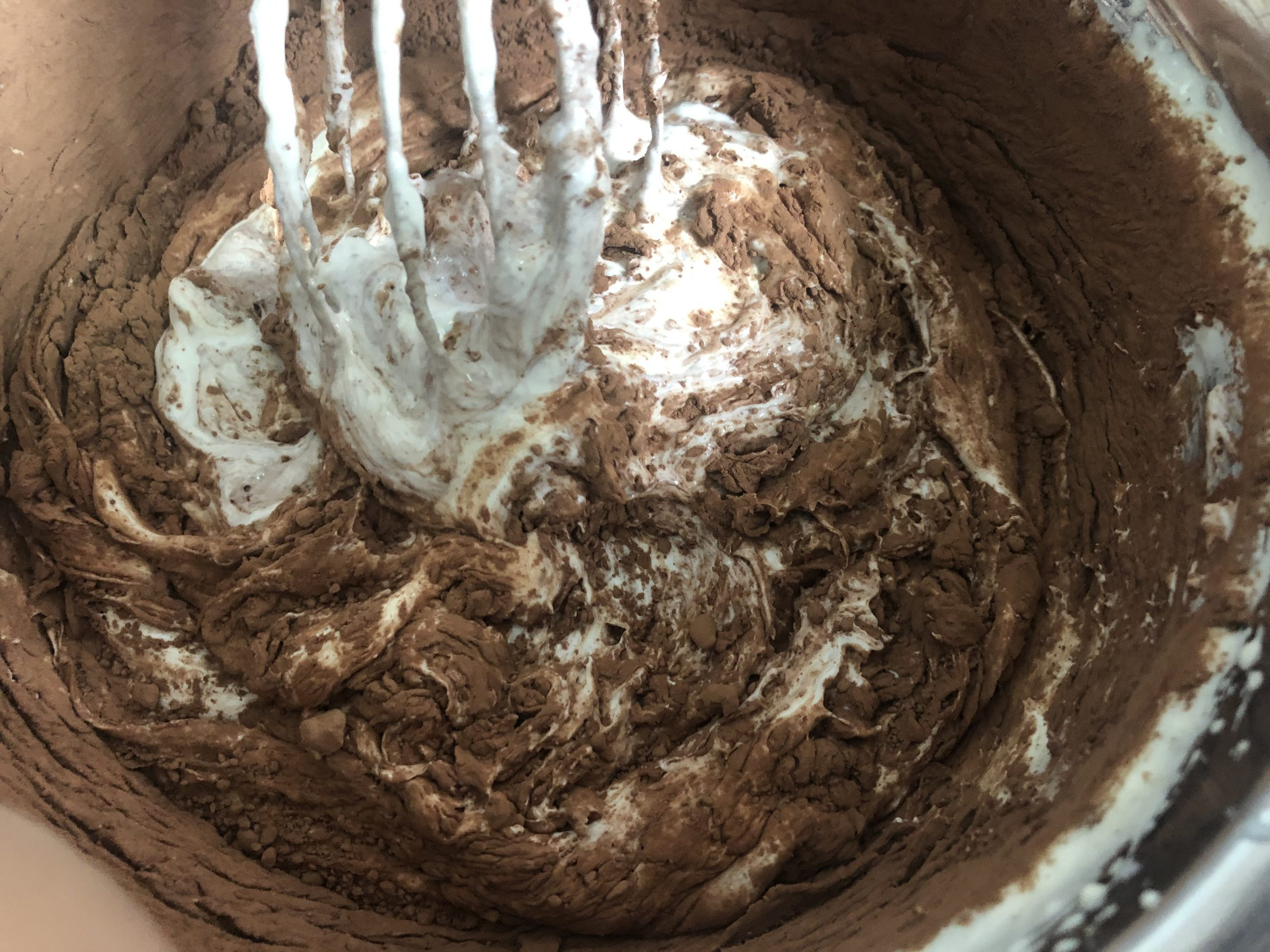 mixing in cocoa powder
